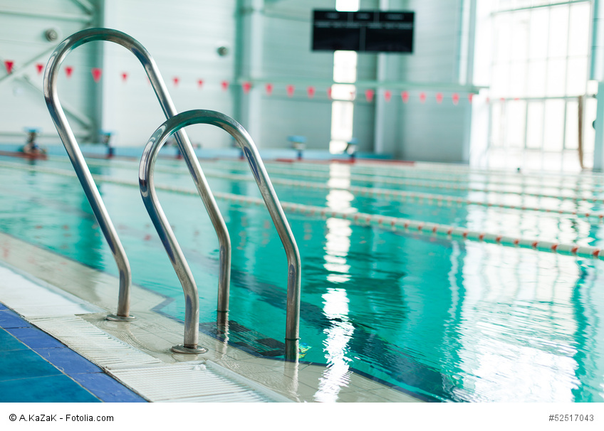 Close-up of ladder in swimming pool