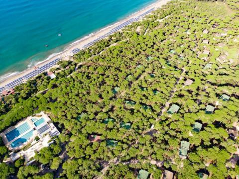 Super gelegen inmitten eines Pinienwaldes und direkt am blauen Mittelmeer ist das Triathlonresort Riva del Sole in der Toskana. (Foto: Riva del Sole)